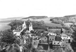 Ansichtskarte, Schwarzenberg Erzgeb., Teilansicht mit Schloß, 1982