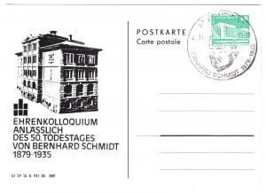 Werbepostkarte mit zugehörigem SSt, Bernhard Schmidt, Mittweida, 27.11.85