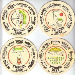Vier Bierdeckel, Tuborg Beer, heute Carlsberg Brauerei, um 2000