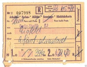 Fahrkarte, Deutsche Reichsbahn, Berlin-Stadtb - Eisfeld, 23.5.77