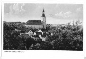 Ansichtskarte, Schkölen Thür., Kr. Eisenberg, Teilansicht mit Blick zur Kirche, 1953