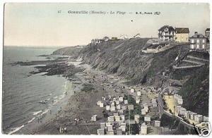 Ansichtskarte, Granville (Manche), La Plage, Strandpartie belebt, um 1912