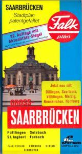 Stadtplan, Falk, Groß - Saarbrücken, patentgefaltet, 1990