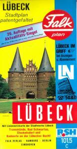 Stadtplan, Falk, Lübeck, patentgefaltet, 1991