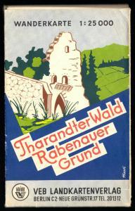 Wanderkarte, Tharandter Wald - Rabenauer Grund, um 1957