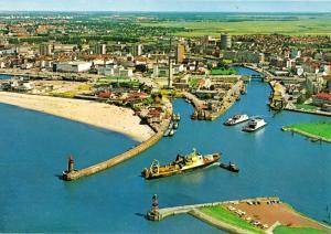 Ansichtskarte, Seestadt Bremerhaven, Geestemündung, Luftbildansicht, um 1988