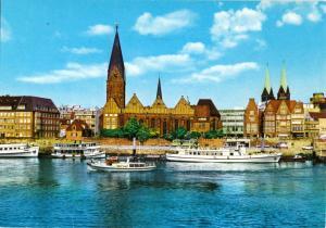 Ansichtskarte, Bremen, Blick über die Weser, um 1978