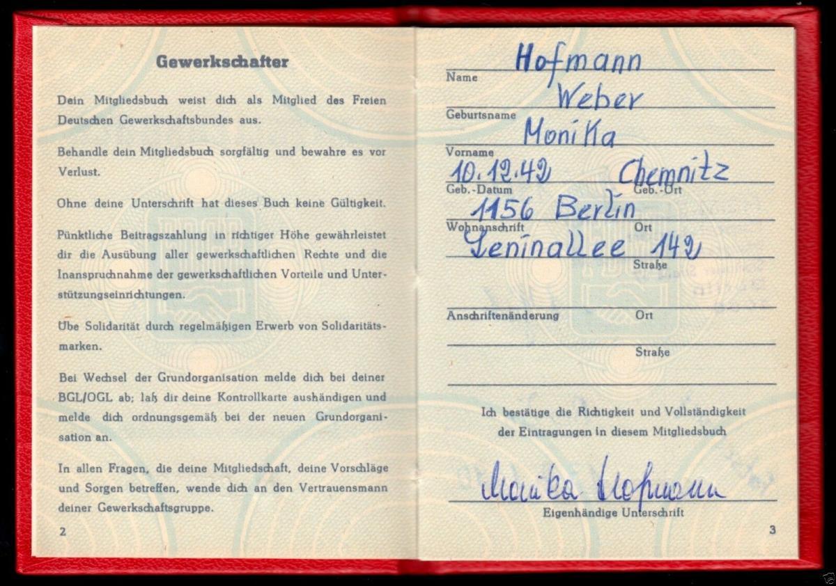 FDGB-Ausweis mit Beitragsmarken, 1990, Außenhandel 1