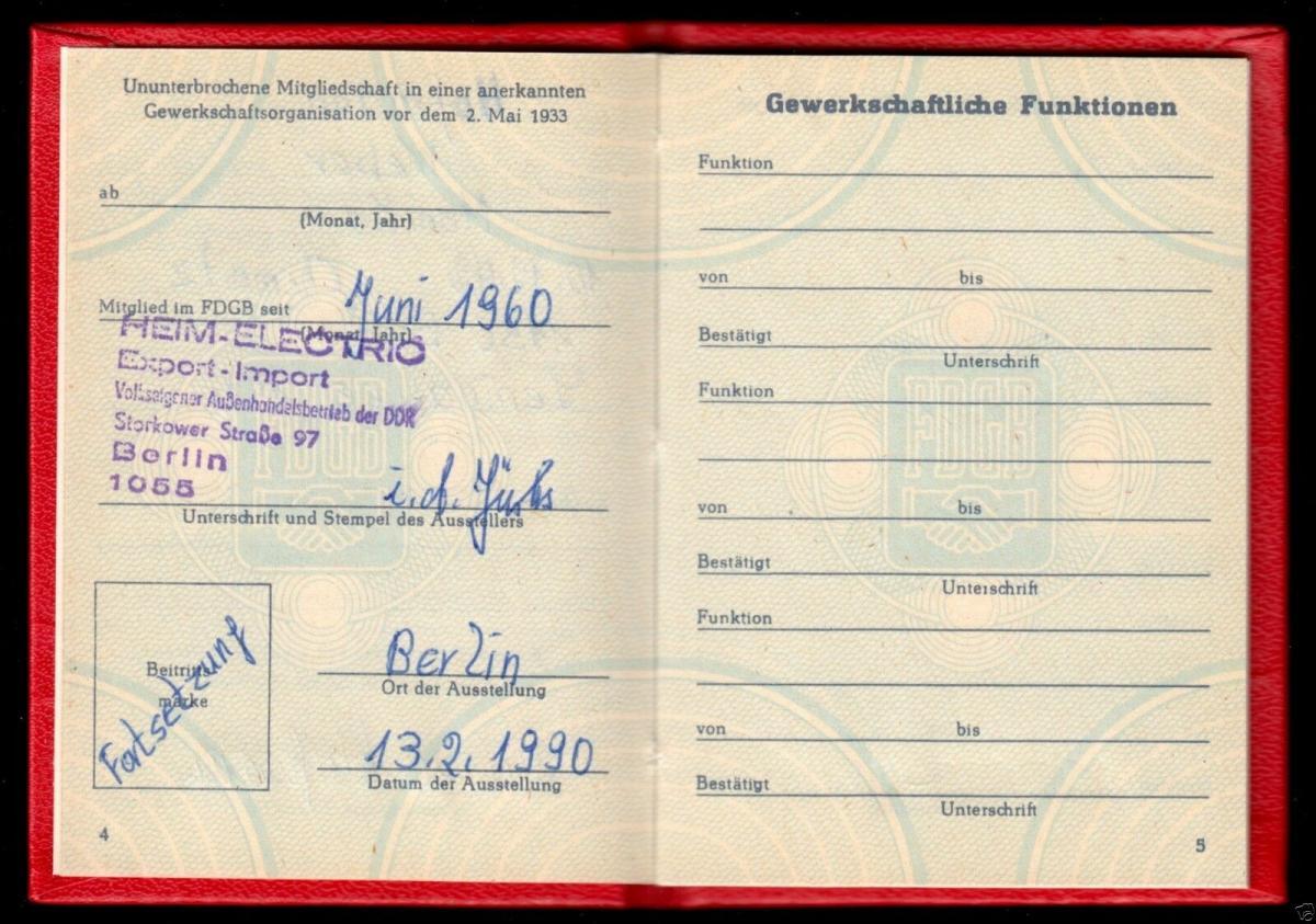 FDGB-Ausweis mit Beitragsmarken, 1990, Außenhandel 2