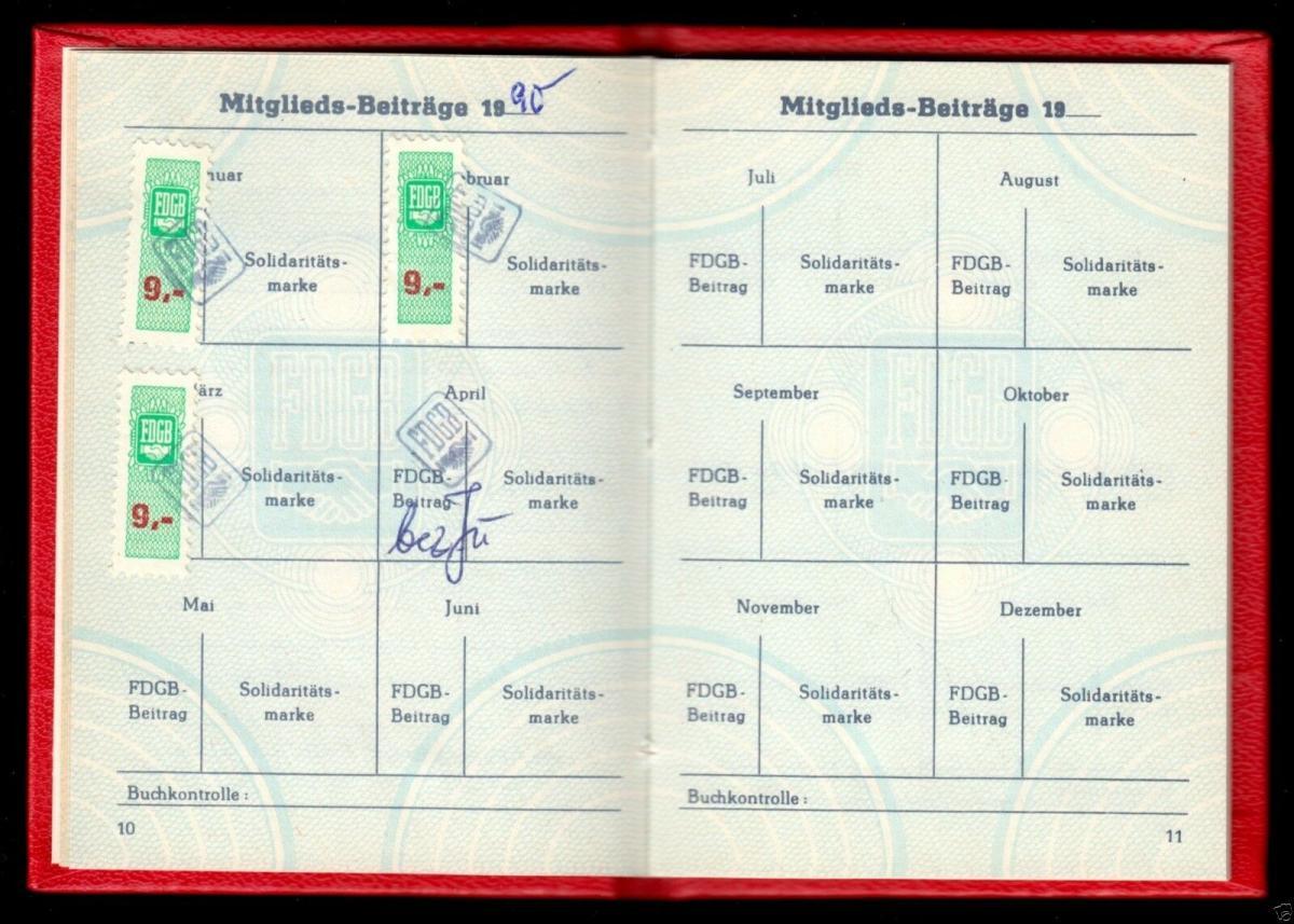 FDGB-Ausweis mit Beitragsmarken, 1990, Außenhandel 3