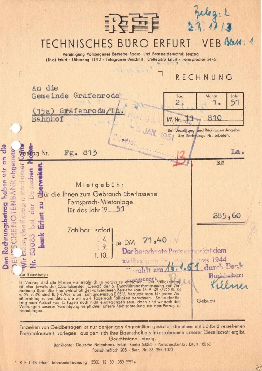 Rechnung, RFT VEB Technisches Büro Erfurt, (15a) Erfurt, Löberring 11/12, 2.1.51 0