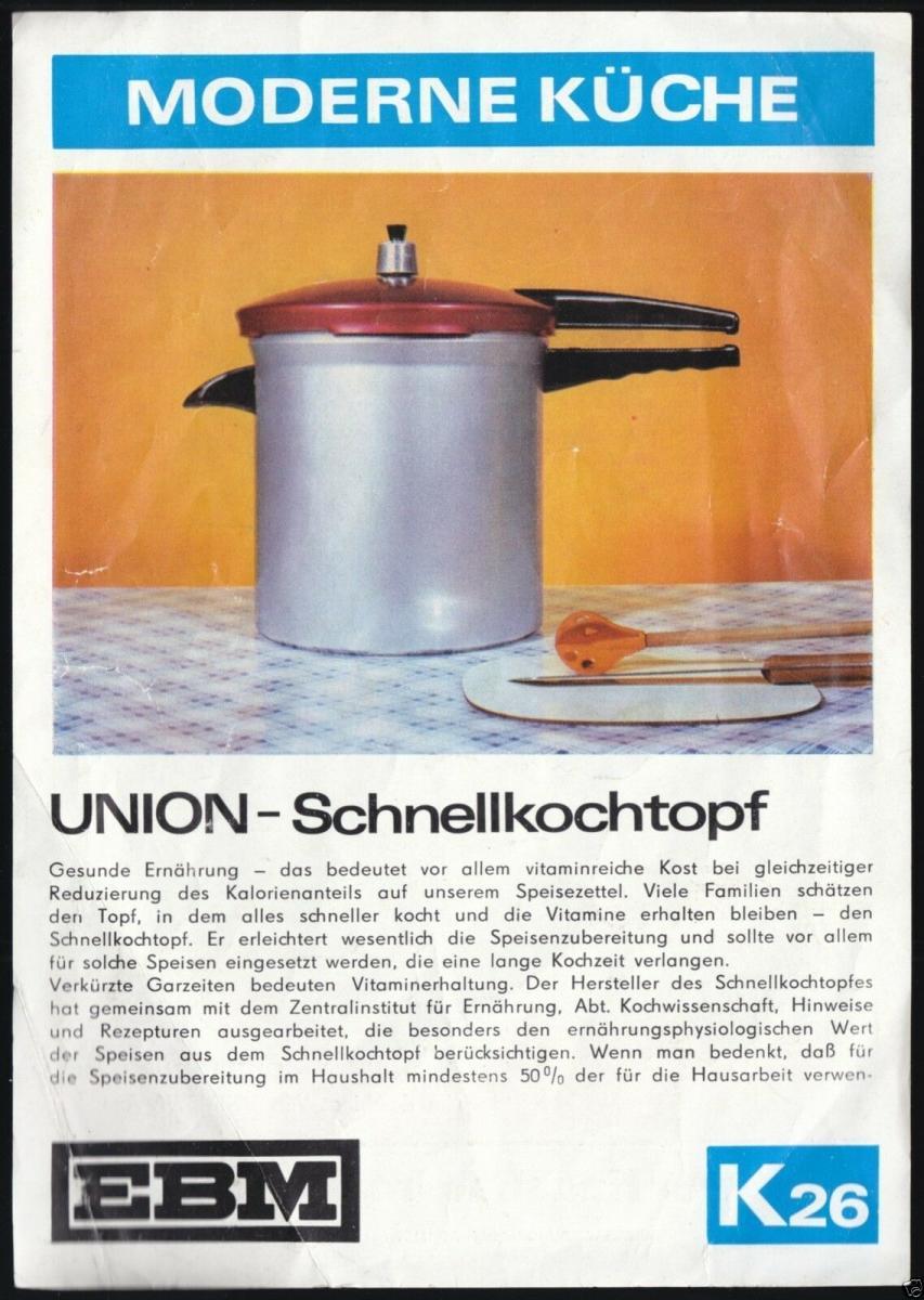 Werbeblatt, Union-Schnellkochtopf, 1975 0