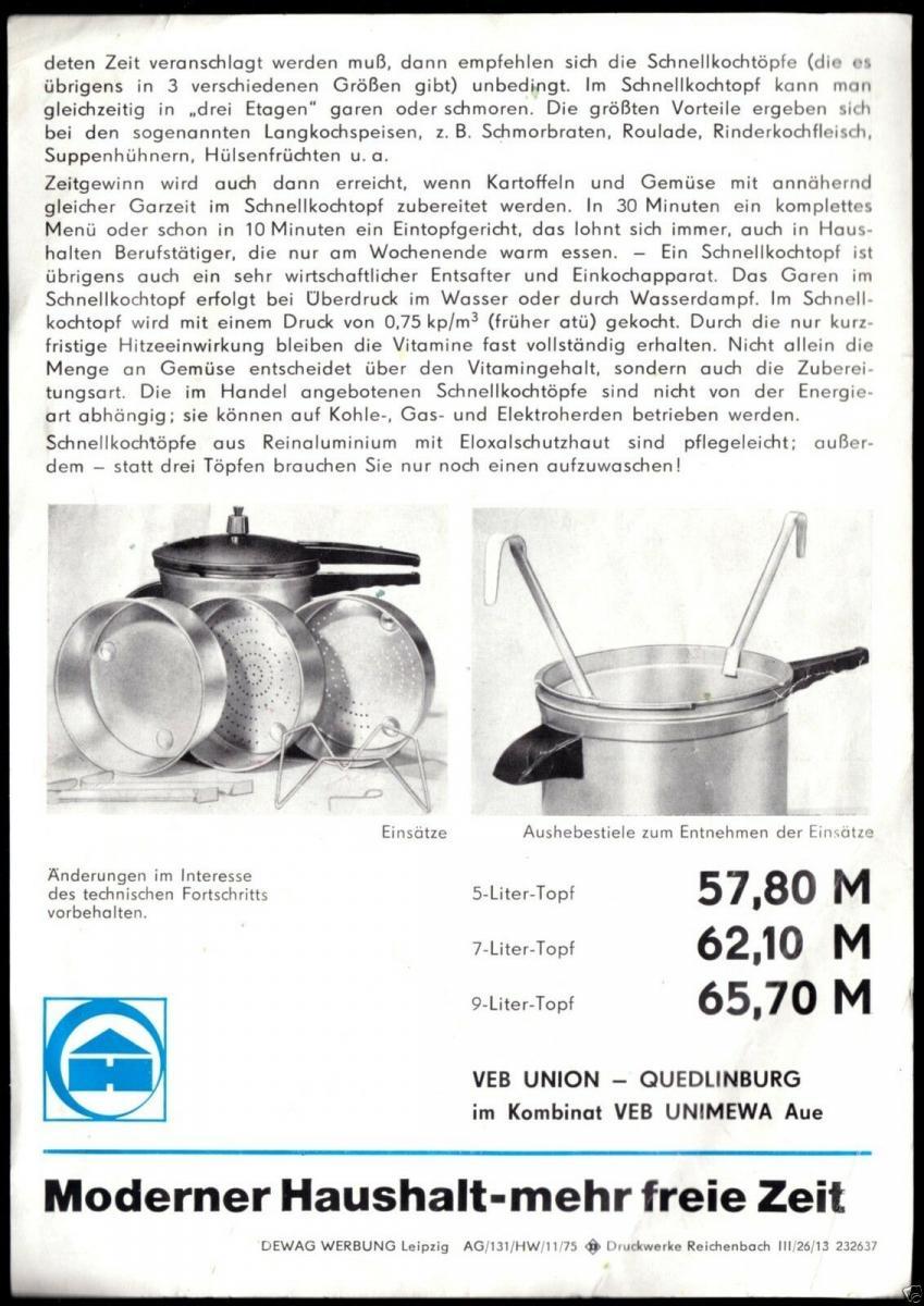 Werbeblatt, Union-Schnellkochtopf, 1975 1
