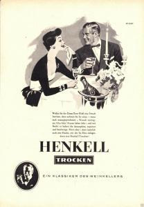 Zeitschriftenwerbung, Sekt der Firma Henkell, drei Blatt, um 1953