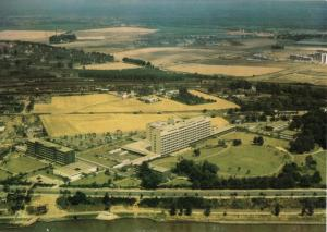 Ansichtskarte, Porz am Rhein, Krankenhaus, Luftbildansicht, um 1980