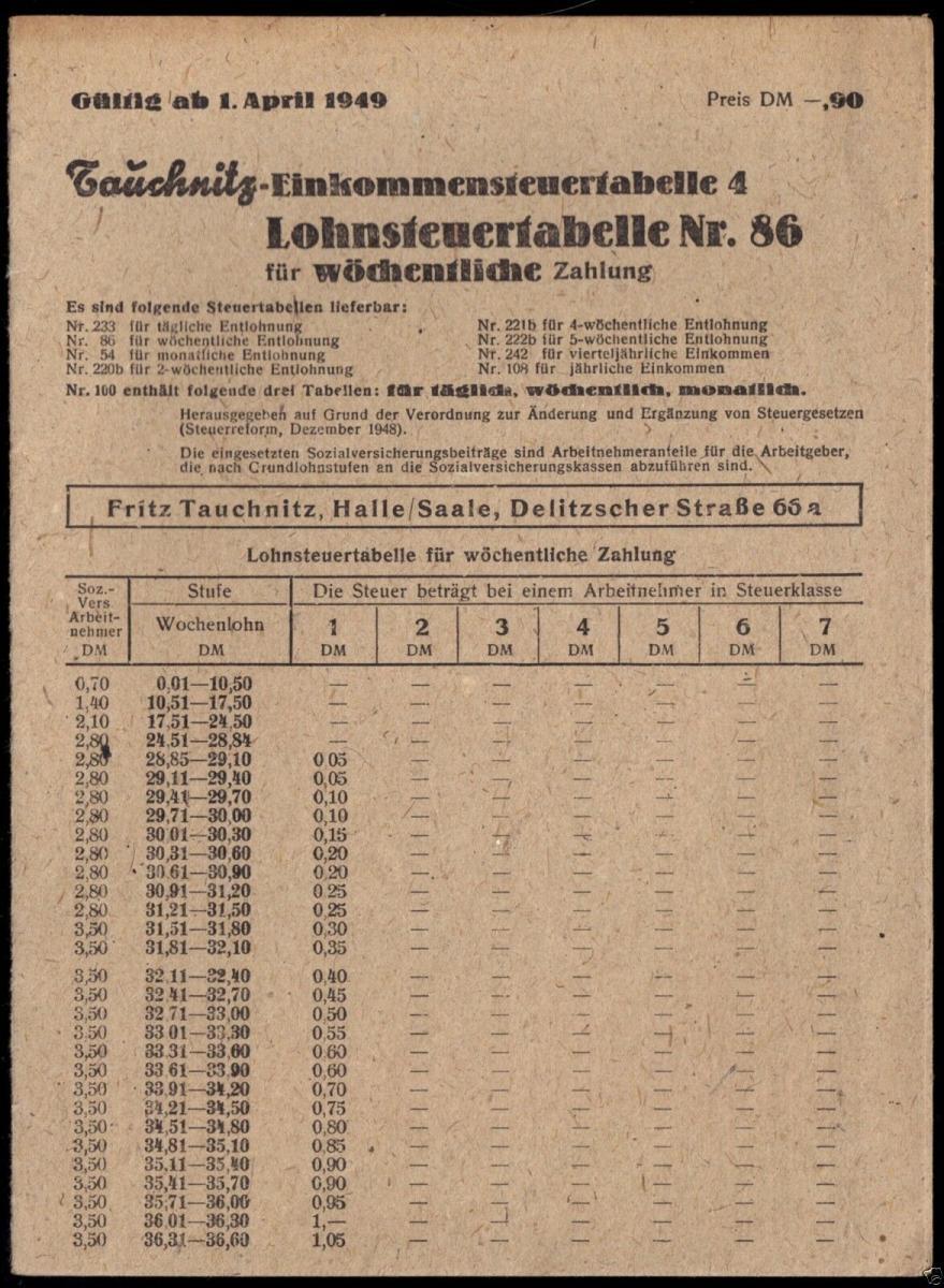 Tauchnitz - Einkommensteuertabelle 4, gültig ab 1. April 1949 0