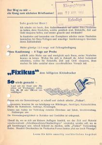 Werbezettel, Neuheiten - Seiffert, Pößneck Thür., 1954, u.a. für Füllhalter
