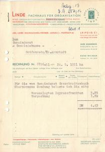 Zwei Rechnungen, Linde, Fachhaus für Organisation, Leipzig C 1, 24.5.1951