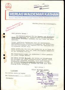 Werbeschreiben, Verlag Waldemar Kathan, München, Juli 1939