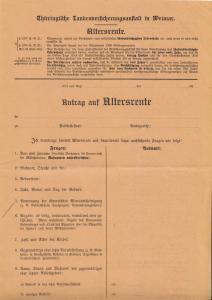 Thüringische Landesversicherungsanstalt Weimar, Antrag  auf Altersrente, 1921