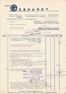 Zwei Rechnungen, Fa. Karl Gebhardt, Büro-Organisation, Erfurt, 1939 bzw. 1941