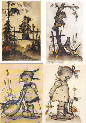 4 Ansichtskarte Kunstpostkarten M.I. Hummel Hummel-Figuren Gänseliesel Apfeldieb ua.