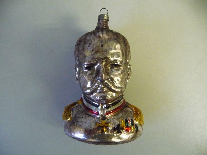 Patriotischer Christbaumschmuck Hindenburg Kopf aus Glas