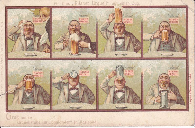 Ansichtskarte Reklame Scherzkarte Pilsner Urquell / Urquellstube