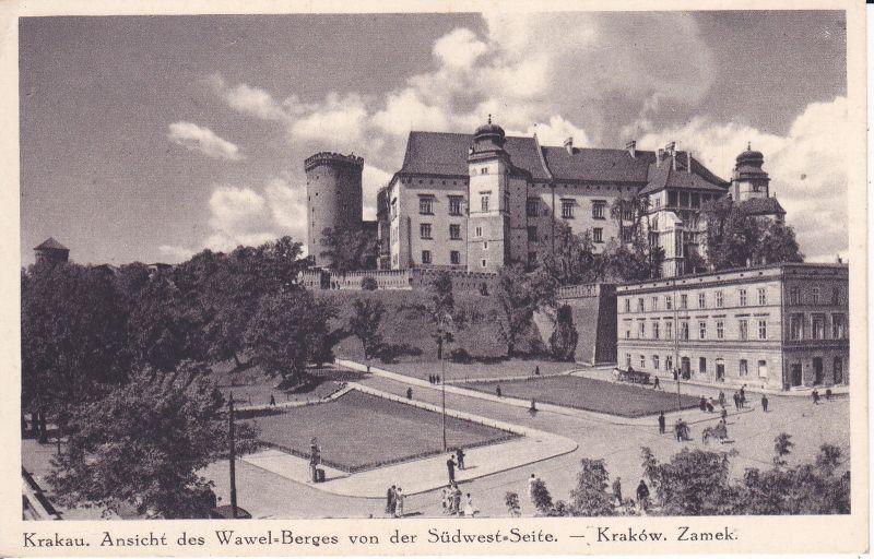 Ansichtskarte Krakau / Kraków Wawel von Südwesten ca. 1940