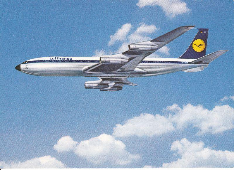 Ansichtskarte Flugzeug Boeing 707 Intercontinental Jet Lufthansa