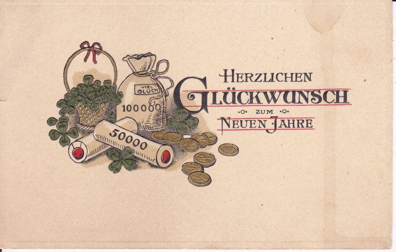 Ansichtskarte Glückwunschkarte Prägekarte Neujahr Geldsack Geldrollen ca. 1920