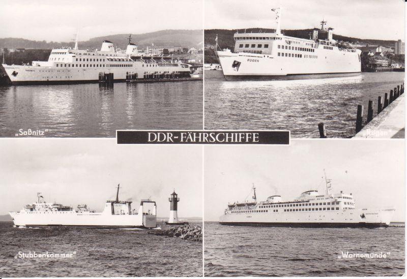 Ansichtskarte DDR-Fährschiffe Saßnitz Rügen Stubbenkammer Warnemünde / Mehrbildkarte Foto 0