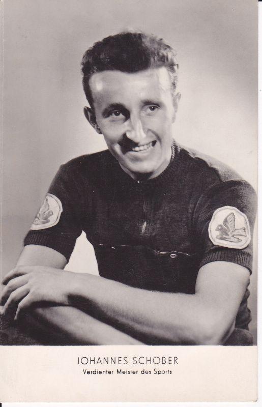 Ansichtskarte Foto Porträt Johannes Schober Radrennfahrer DDR 0