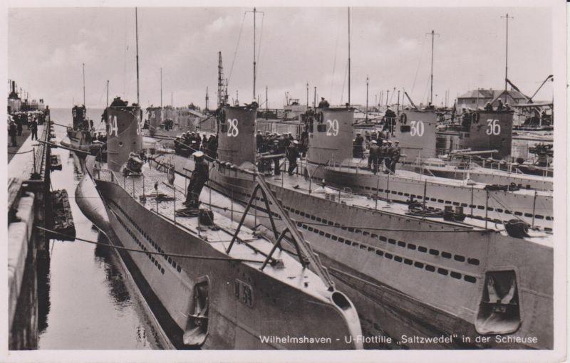 Ansichtskarte Wilhelmshaven Schleuse U-Boot-Flotille Saltzwedel Kriegsmarine Foto ca. 1940