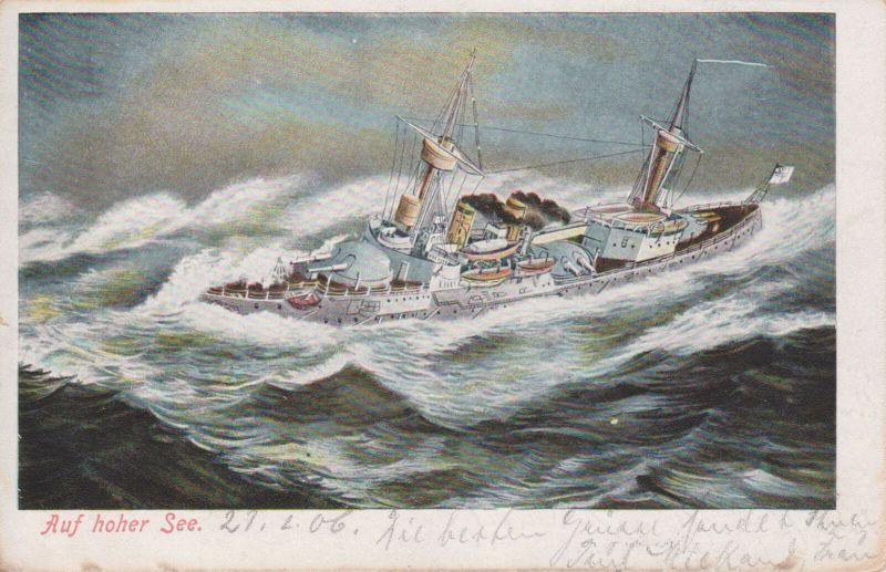 Ansichtskarte Kunstpostkarte Kriegsschiff im Sturm