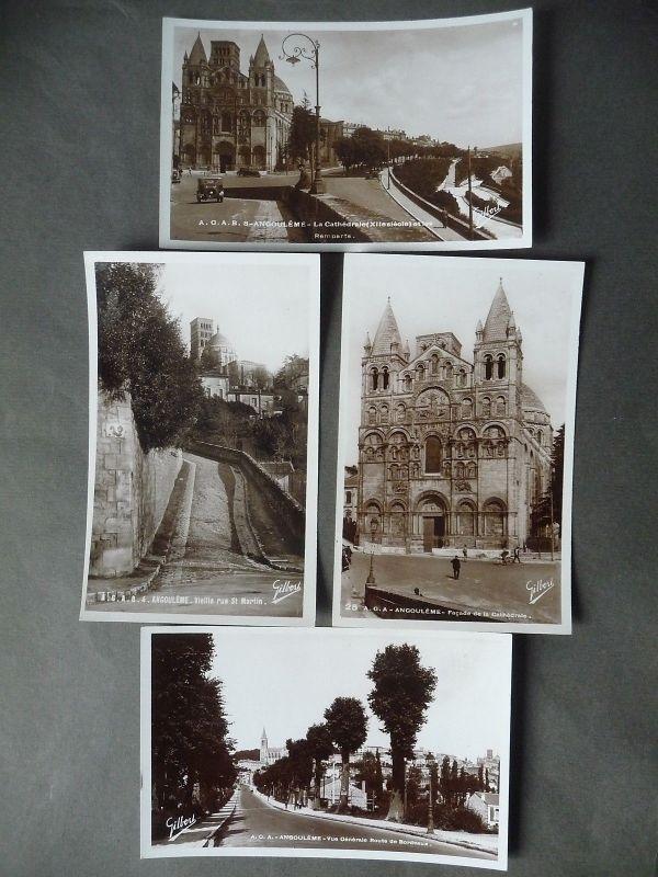 4 Ansichtskarte Angoulême Kathedrale Straßenansichten Fotos ca. 1940