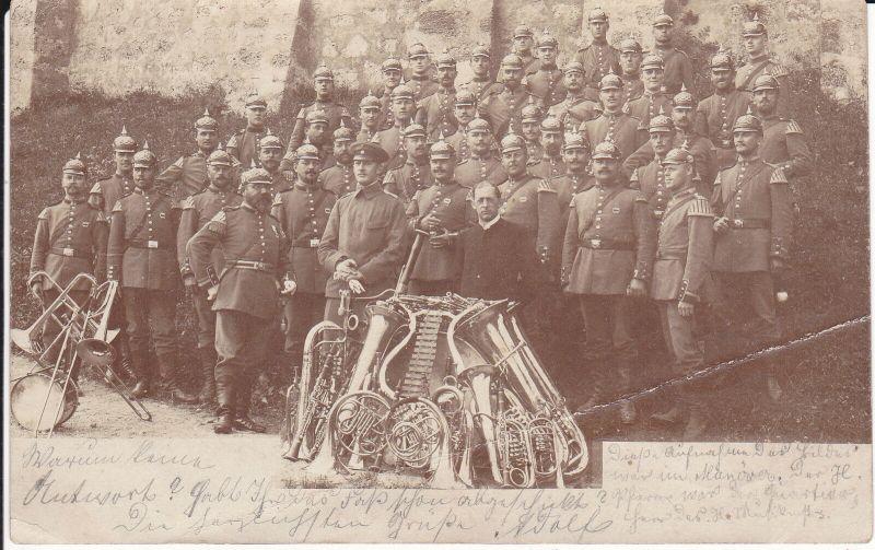 Orig. Foto Gruppenbild Soldaten Kapelle Musikinstrumente Pfarrer München 1900