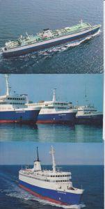 3 Ansichtskarte Fährschiff Deutschland / Karl Carstens / Vogelfluglinie mit Stempel