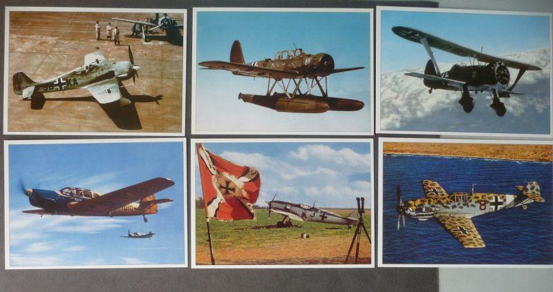 7 x Ansichtskarte Sammelkarten Kampfflugzeuge Jagdflugzeuge DMZ