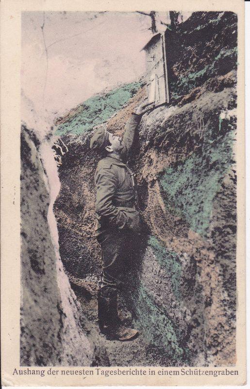 Ansichtskarte Aushang Tagesberichte Schützengraben Soldat Erster Weltkrieg Feldpost 1916