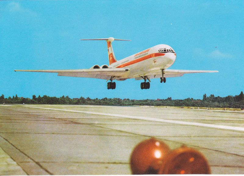 Ansichtskarte Turbinenluftstrahlverkehrsflugzeug Iljuschin IL 62 Flugzeug Interflug 1974
