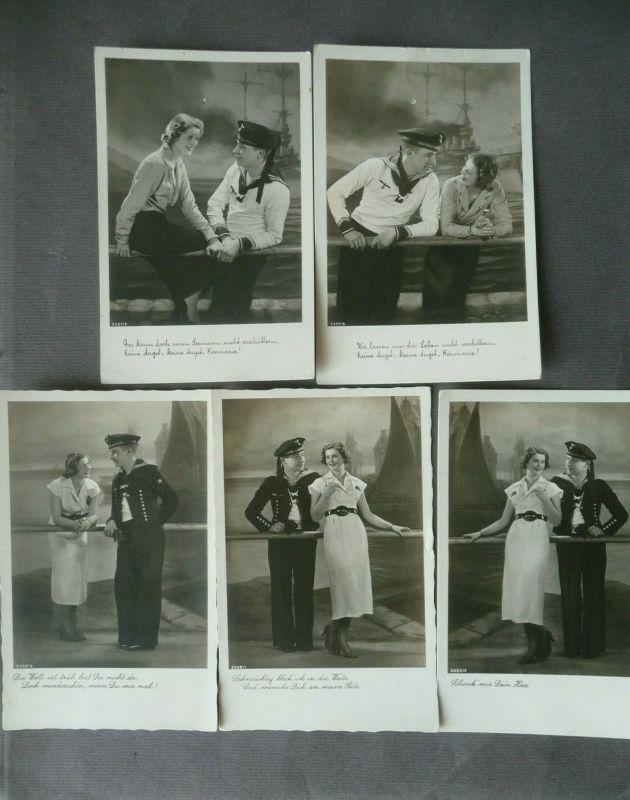 5 x Ansichtskarte Matrose mit Liebster / Kitsch Seemannsromantik / Feldpost WKII