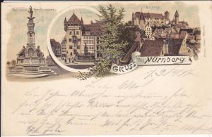 Ansichtskarte Nürnberg Kunstbrunnen Nassauer Haus Burg Farblitho 1897
