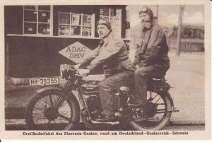 Ansichtskarte Eiserner Gustav / Gustav Hartmann auf Motorrad Dreiländerfahrt ca. 1930