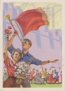 Ansichtskarte Sowjetunion Propaganda Jugend Trompeter Industrie 1958