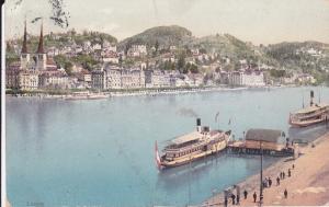 Ansichtskarte Luzern Seeufer Schiffsanlegestelle Dampfer 1911