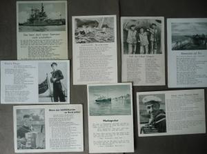 8 x Ansichtskarte Liedpostkarten Seemannslieder La Paloma Madagaska WK II