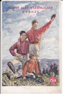 Ansichtskarte Kunstpostkarte VII. Slet Vsesokolský Prag / Sokol Turnerbund 1921
