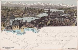 Ansichtskarte Zürich Gesamtansicht mit Alpenpanorama Farblitho 1896