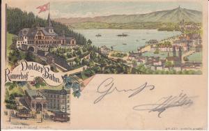 Ansichtskarte Zürich Römerhof Dolder-Bahn Hotel Ausblick Zürichsee / Farblitho 1896